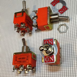 Toggle Switch 2-Pos DPDT 15A 250v