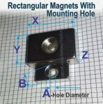 Magnets, Rectangular with mounting hole